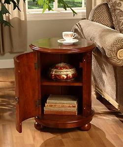 Birch Drum Table. This Decorative Accent table Features a St