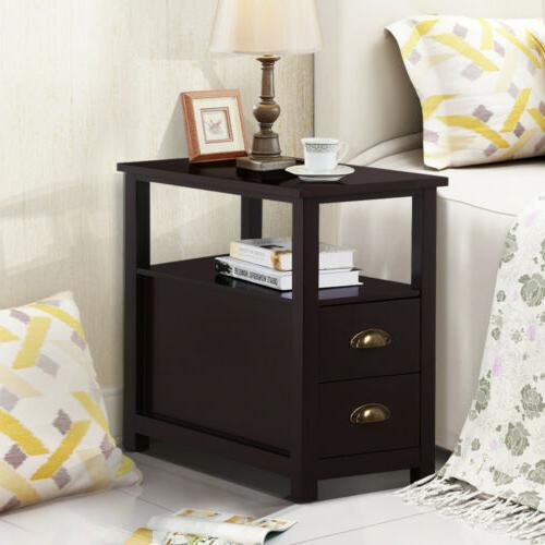 Chair End Table Night Snack Storage w/2