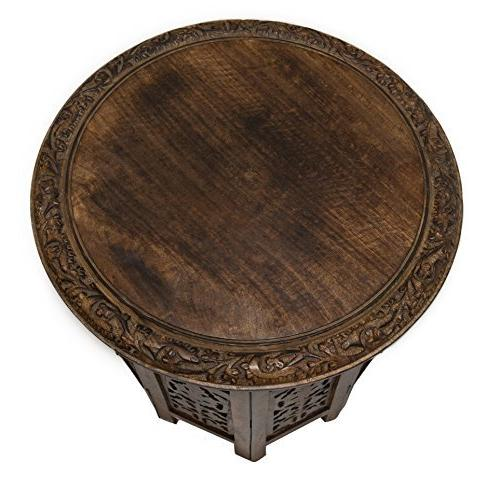 Cotton Jaipur Solid Wood Accent Coffee Inch Round Top 18 Inch High Antique