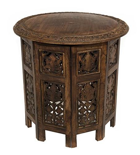 Cotton Craft Jaipur Wood Carved Coffee Table - Inch Round Top 18 Antique Brown