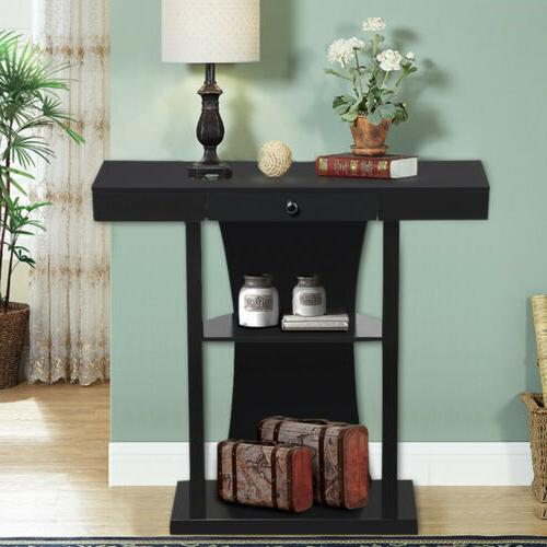 Hallway Table Accent Stand Living Room Drawer Shelf