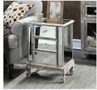 Nightstand Mirrored Table Accent End Bedside Chest Off White