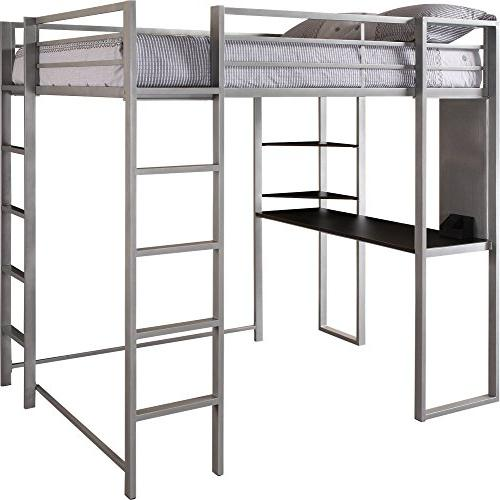 Abode Full Bed with Desk and Shelves Silver