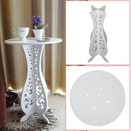 Accent Round Sofa Side Table Room Furniture Decor White