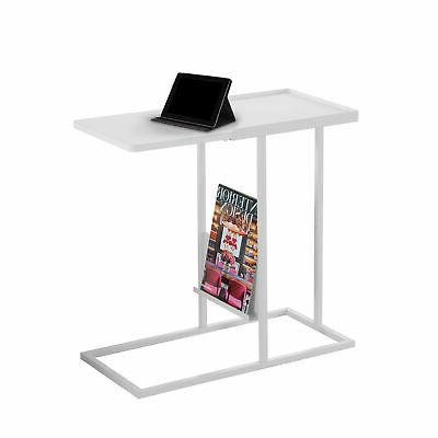 Accent Table with Magazine Rack in White Finish