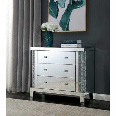 Acrylic 3-drawer Mirrored Side Table