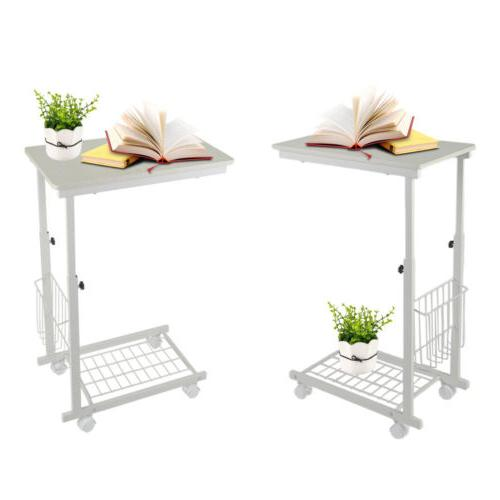 Adjustable Tray Sofa Side Stand TV Snack Room W/Wheels