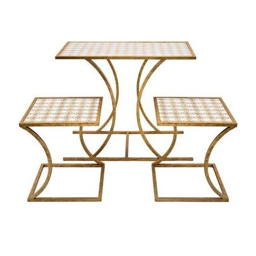 antiqued gold finish geometric patterned