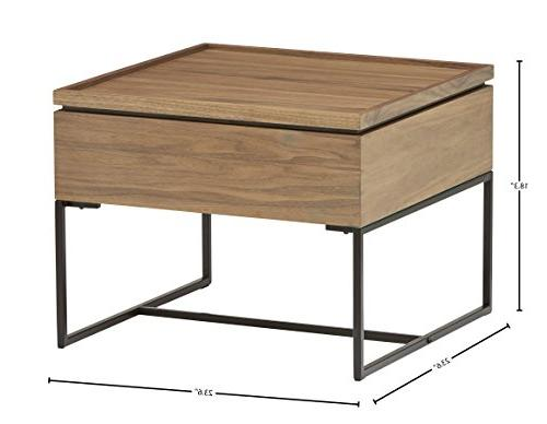 Rivet Axel Lift-Up Wood and Side Table, Walnut