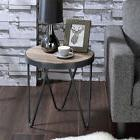 Bage Industrial Round End Side Table Wooden Top Metal Trim V