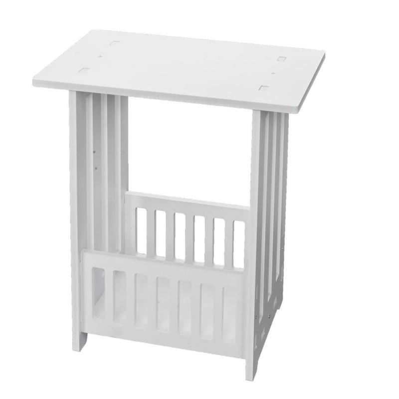 Bedside Table 2-storey White Space Side Furniture