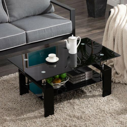 Black Side Highlight Glass Coffee Table w/Shelf Living Room Rectangle
