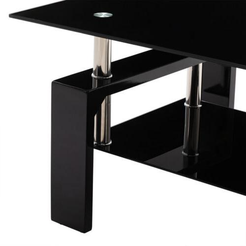 Glass Top Table w/Shelf Room Rectangle