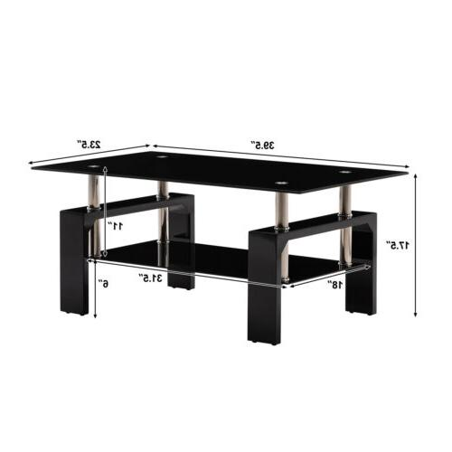 Black Side Glass Top Coffee Table w/Shelf