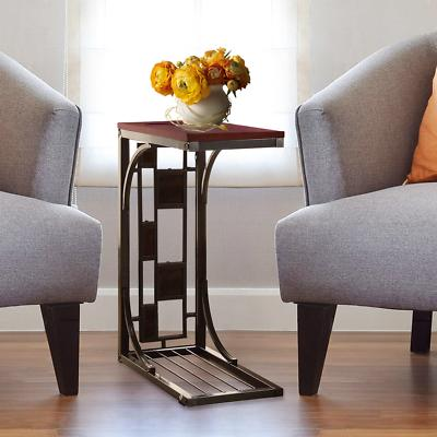 Burnished Sofa Table - Tray Table Stand With Cup Holder Square