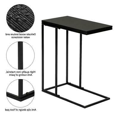 C-shaped Side Snack Table Tray Table Black