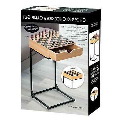 Chess & Table Set- Wooden Board with Storage Drawer, Stand