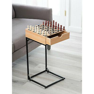 Chess & Set- Wooden with Storage Stand