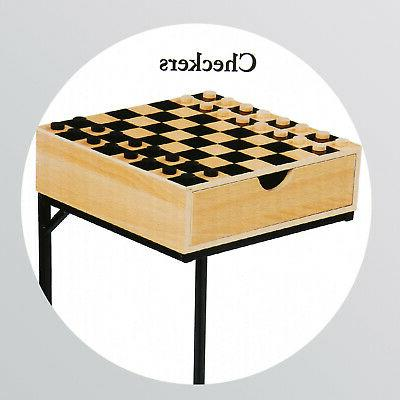 Chess Set- Wooden Board with Storage Drawer, Metal Stand