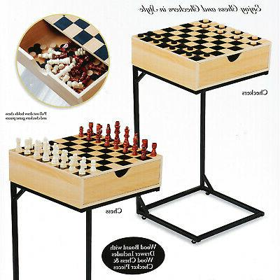 Chess & Table Set- Board Game with Storage Metal Stand