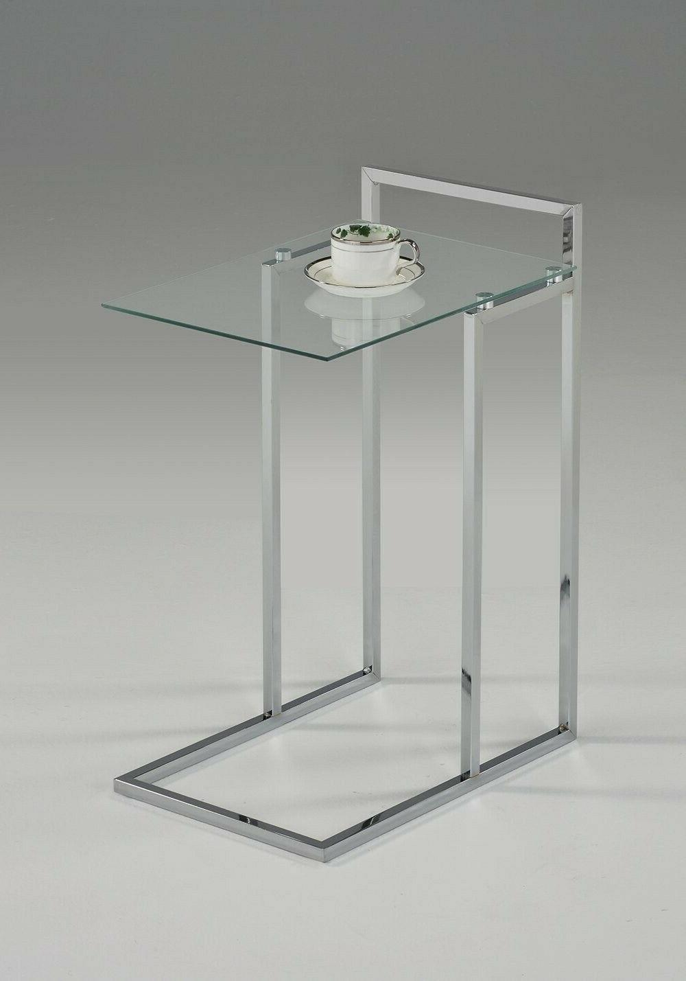 chrome glass end table modern side contemporary
