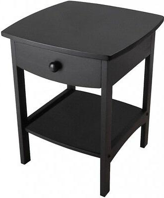 Claire Accent Table Black Composite Wood Room End Table Draw