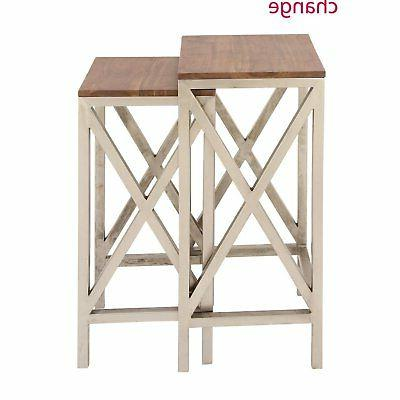 Classic Metal Wood Side Table Set of Two