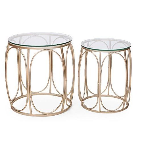 Adeco Classic Nesting Side Table Set , Gold