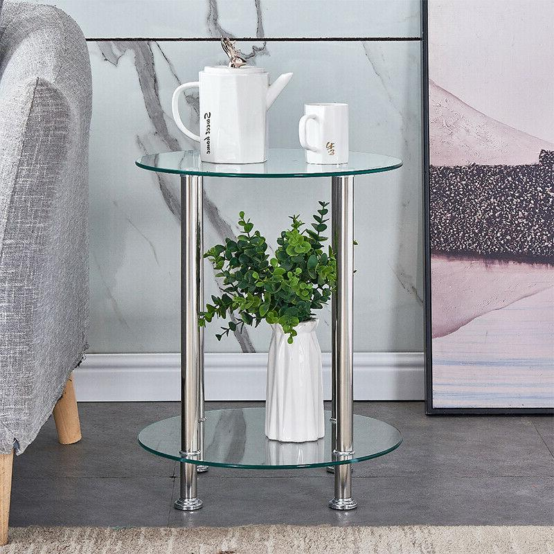 Clear 2 Table Table Top Chrome Laptop Living