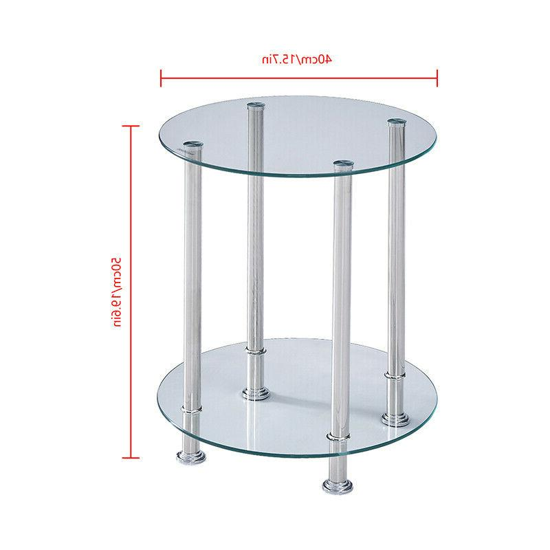 Clear Tier Side Table Top Chrome