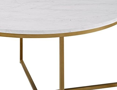 WE Furniture Coffee Table Faux Marble/Gold
