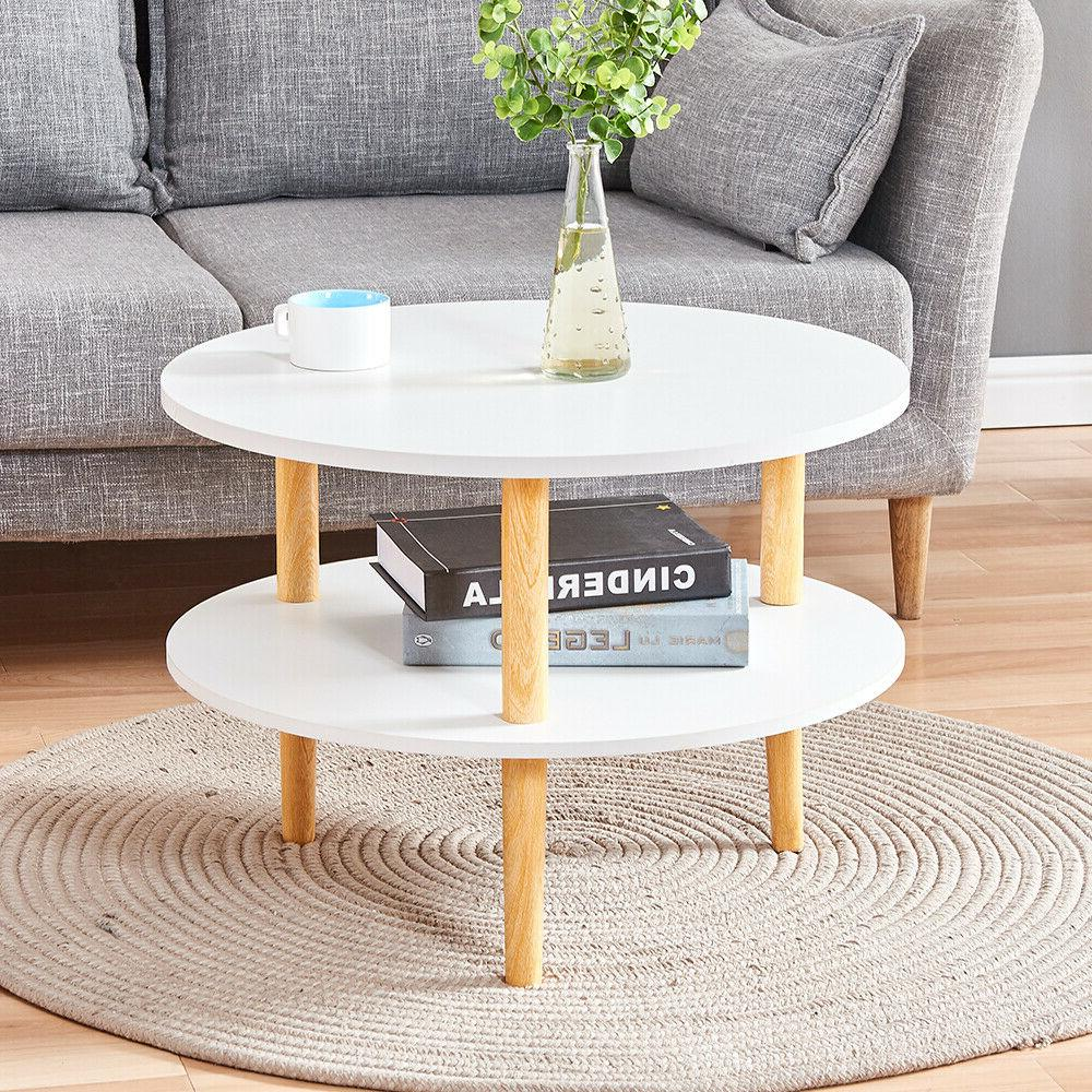 Round Side End Table Tea Coffee Table Wood Living Room Home