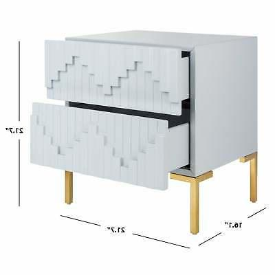 Safavieh Couture Side Table / Gold - Grey 21.6
