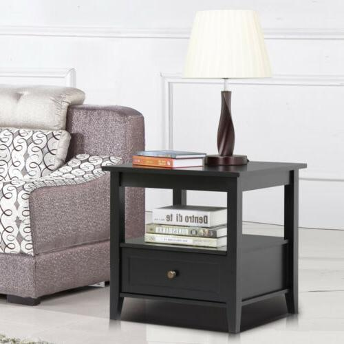 End Stand Bedside Table Living w/ Shelf Drawer