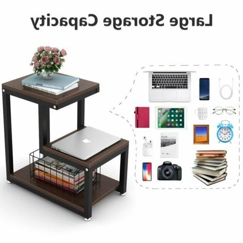 Espresso 3-Tier End Bedside Table Nightstand with