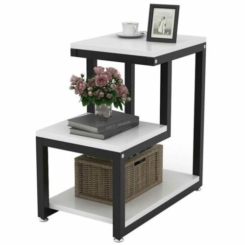 3-Tier Table Night Stand with Shelf for Living Room or Bedroom