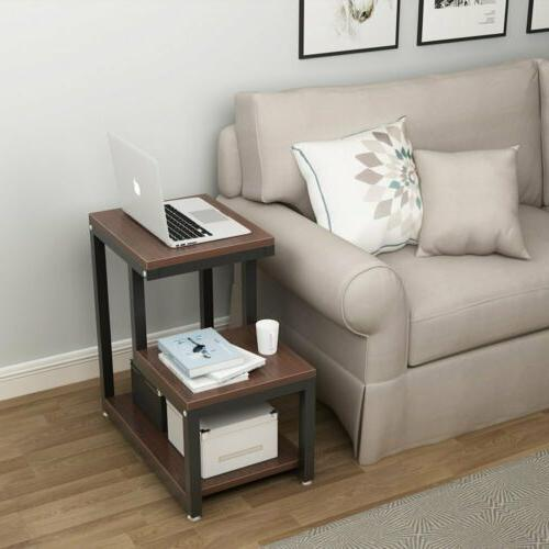 Espresso Side Bedside Table with Storage