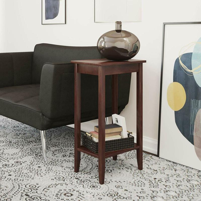 Rosewood Tall End Table Accent Side Sofa Stand Wood Veneers