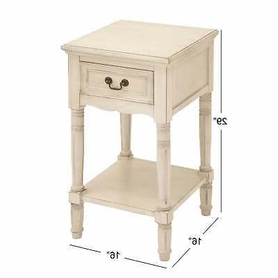 Farmhouse Wooden Side with Drawer Off-White