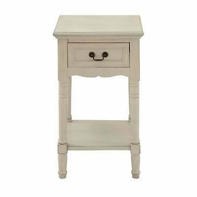 Farmhouse 29 Inch Square Wooden Side Table Drawer by