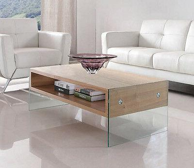 Glass and Ash Wood Coffee Table