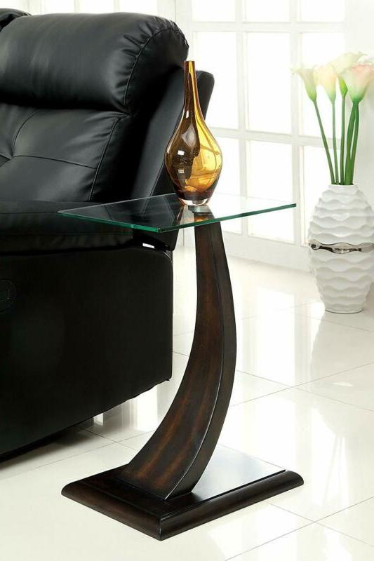 Furniture Of America Halen Contemporary Glass Top Side Table