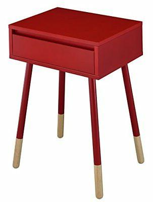 247SHOPATHOME IDF-AC176RD Fernadad Side Table, Red