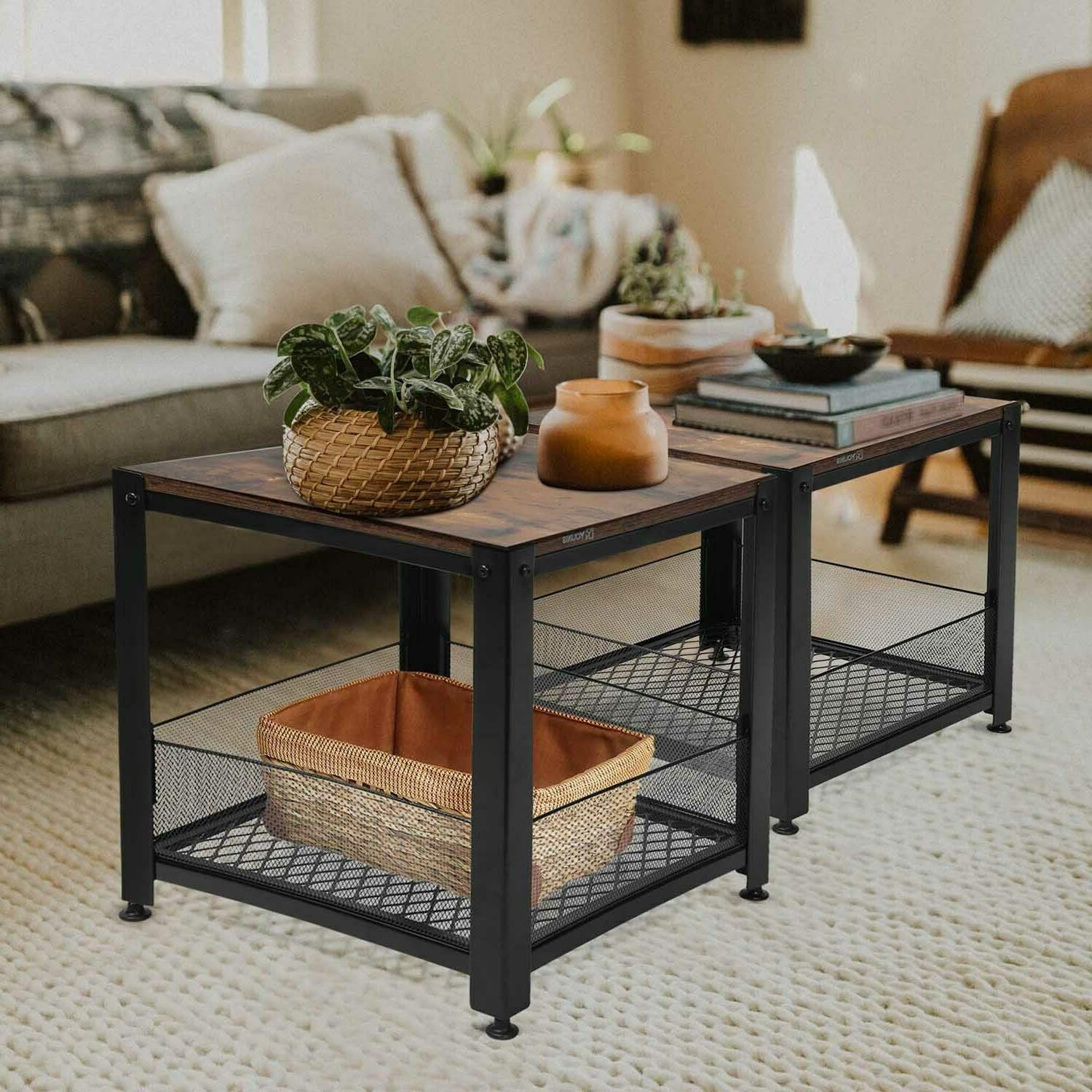 Industrial End with Storage Rustic Square Side Table Room