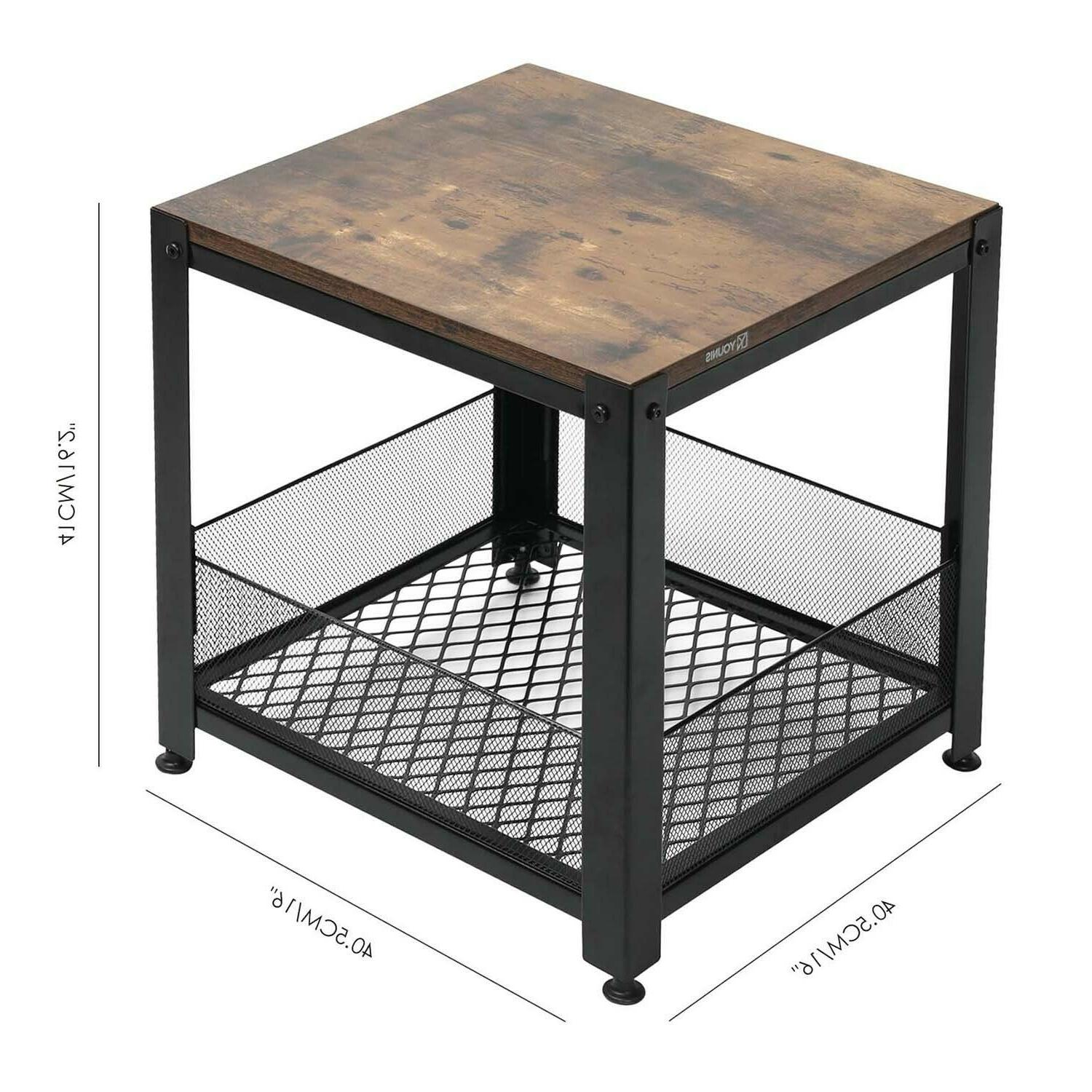 Industrial Storage Shelf Rustic Square Side for Room