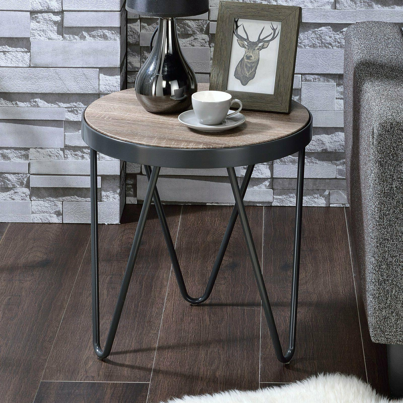 Industrial Round End Chair Side Table Wooden Top Metal Trim