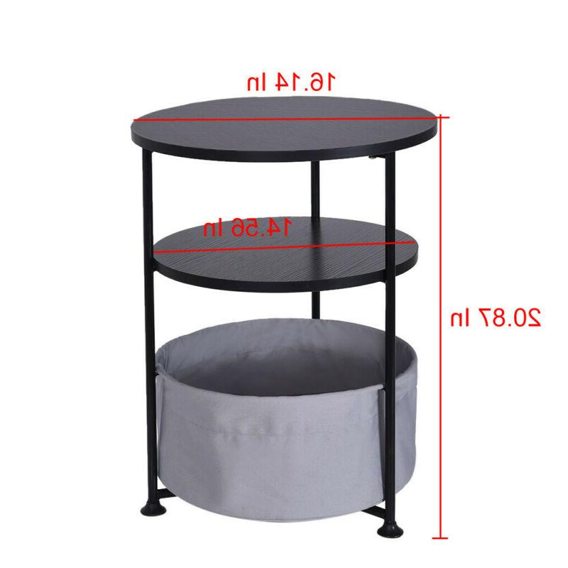 Round Wood Side Table With Fabric Three Layer