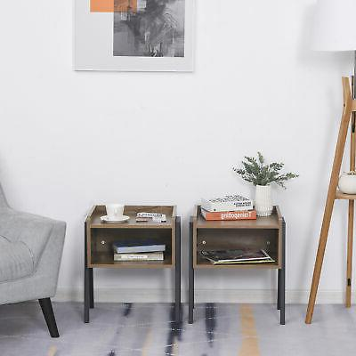 Industrial Wood Small Table, 2, with Stacking Design