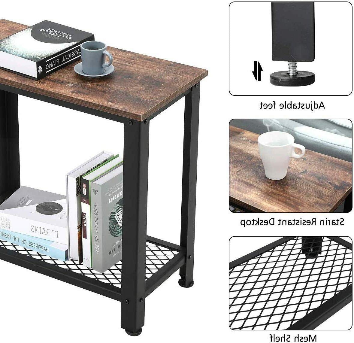 Industrial Sofa Table Accent Shelf Look