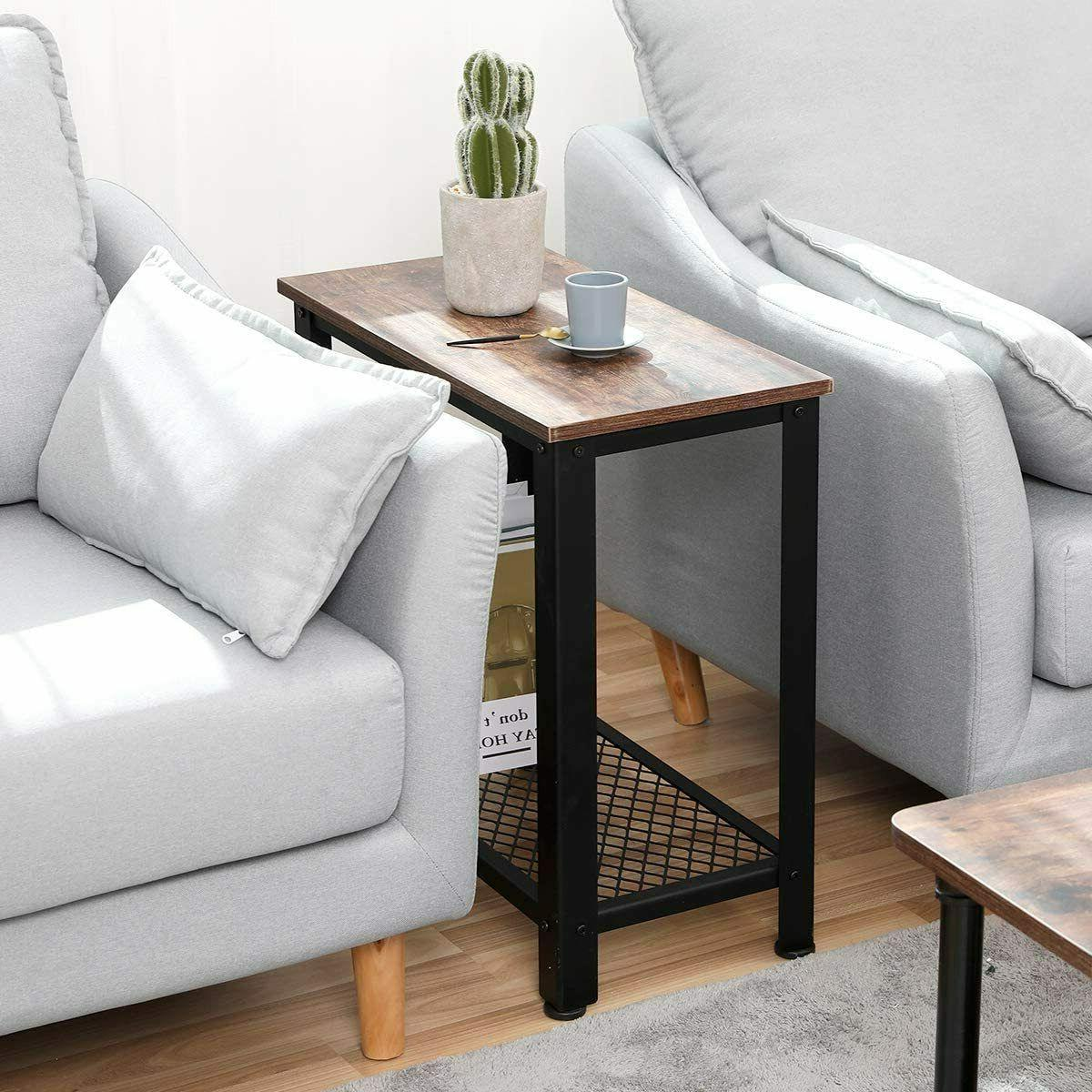 Industrial Sofa End Table Accent Nightstand Shelf Storage Wood